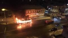В Тамбове на остановке полностью сгорел автобус