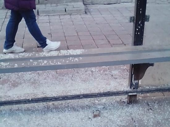 В Тамбове вандалы разбили остановку
