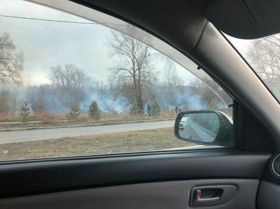 В Красноярске на острове Отдыха горит трава