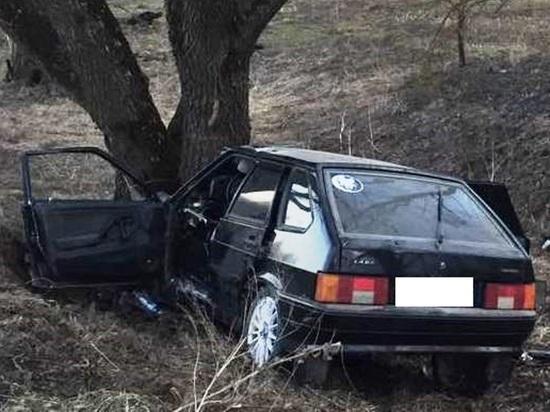 Лада протаранила дерево в Ульяново