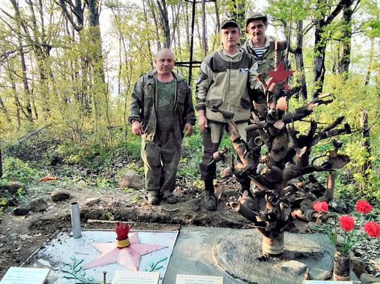 В лесу под Горячим Ключом установили памятник из осколков и снарядов времён войны