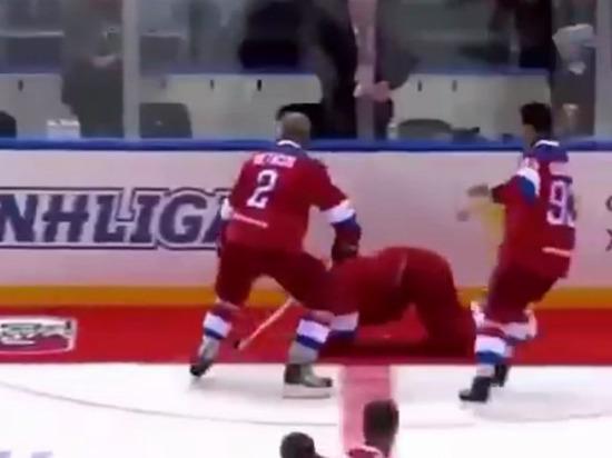 Путин упал на ковер на гала-матче НХЛ