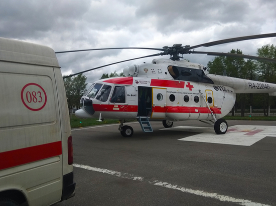 Вертолёт доставил тяжелобольного человека в тверскую больницу