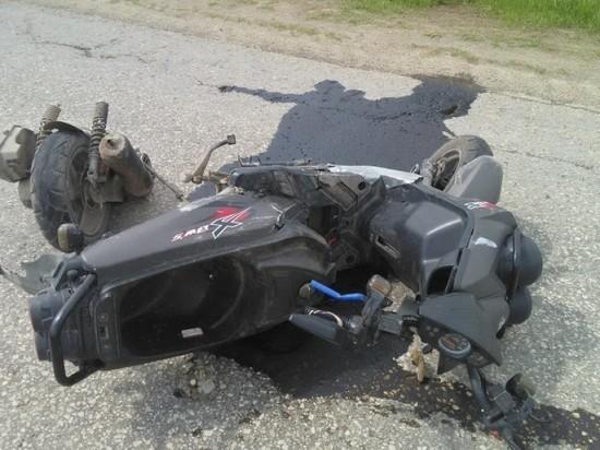 В Рязанской области пенсионер на скутере попал в аварию