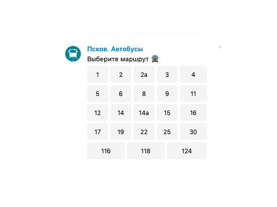 В Пскове создан бот для получения расписания городских автобусов