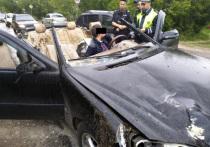 В Кинешме полиция задержала пьяного водителя на разбитом «Мерседесе» с окровавленным салоном и обрезом