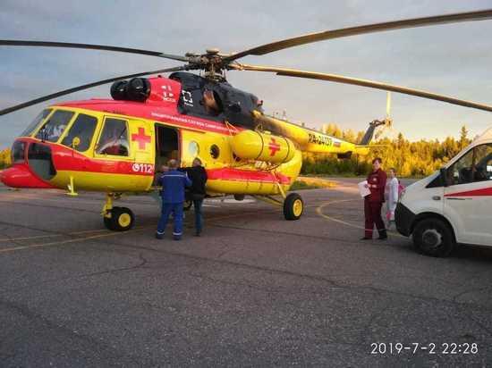 В Петрозаводск на вертолёте привезли пациента с кровотечением из вен пищевода