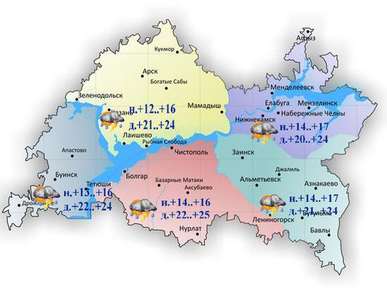 В Татарстане до конца недели сохранится неустойчивая погода с грозами