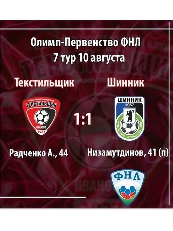 «Текстильщик» вничью сыграл домашний матч на выезде в Ярославле