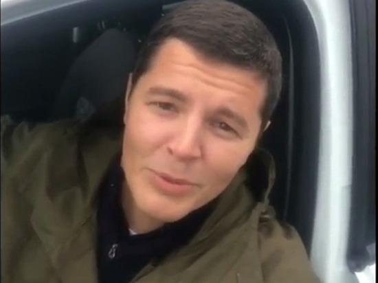 Губернатор ЯНАО едет на машине от Надыма до Ноябрьска