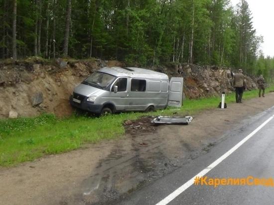 Газель на обгоне столкнулась с фургоном на трассе в Кемском районе