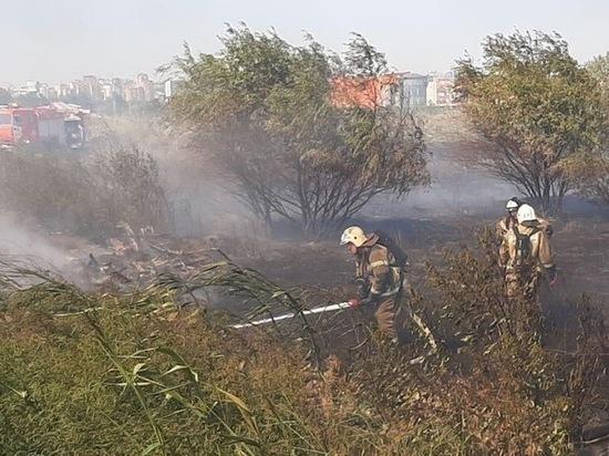 В районе ТЦ «МегаМаг» в Ростове тушат ландшафтный пожар