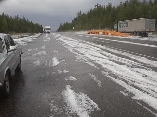 Снег выпал 30 августа в Карымском районе Забайкалья