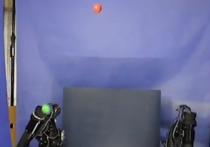 Японские инженеры, представляющие Университет Тиба, представили две роботизированные руки с тремя «пальцами», способные совместно жонглировать тремя шариками