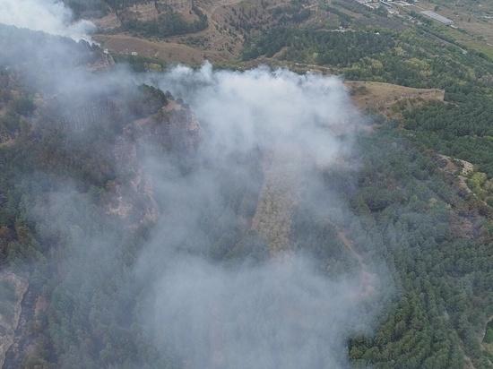 Вертолет задействовали в тушении пожара у горы Кольцо в Кисловодске