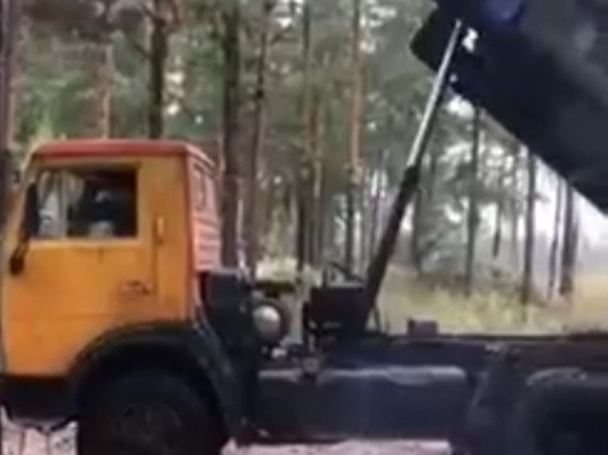 Видео о выгрузке мусора из КамАЗа в лесу Читы появилось в Сети