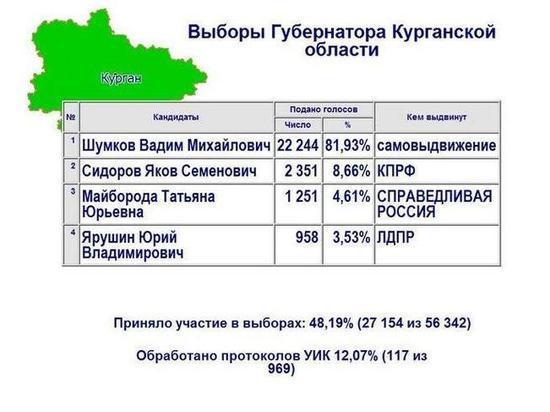 Обработано 12% протоколов на выборах губернатора Курганской области