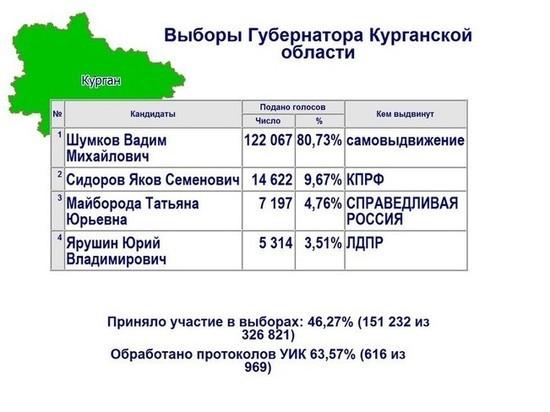 На выборах губернатора Курганской области обработано 63% бюллетеней