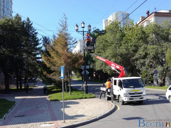 Световые гирлянды монтируют на улице Тургенева в Хабаровске