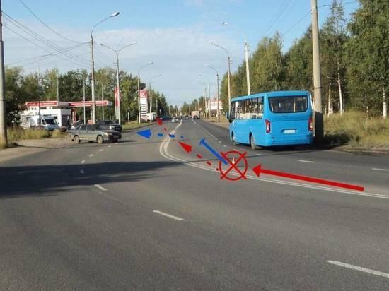 В Архангельске автобус столкнулся с легковушкой, есть пострадавшие