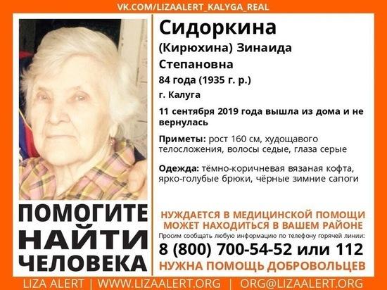 Пенсионерка с потерей памяти пропала в Калуге