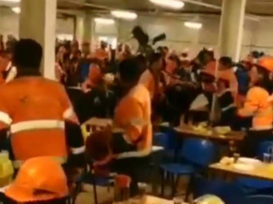 Массовое побоище в столовой газового завода попало на видео