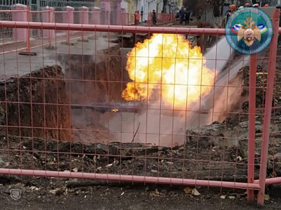 В Уфе во время работ на газопроводе вспыхнул газ