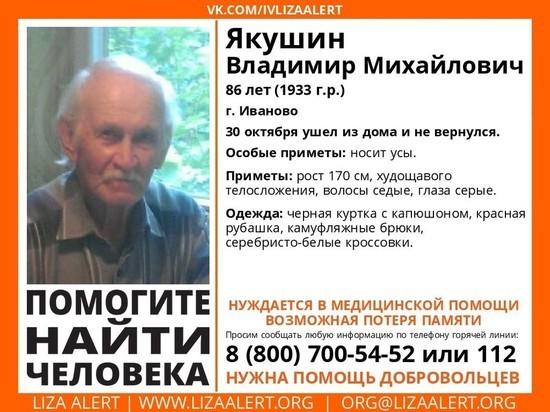 В Ивановской области пропал 86-летний мужчина