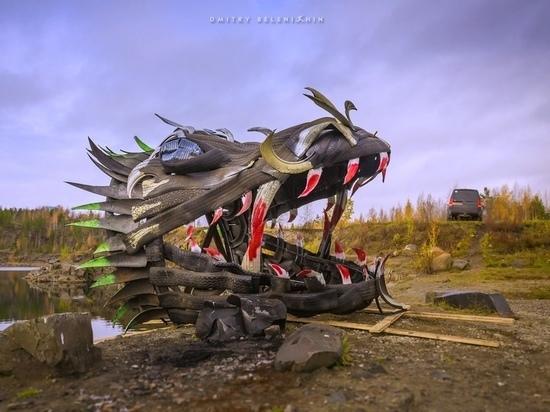 Арт-объект в виде огромной драконьей головы появился на Ключевском карьере