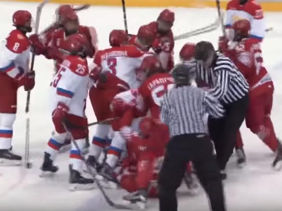 Массовая драка российских и белорусских хоккеистов попала на видео