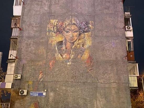В Челябинске частично восстановили варварски уничтоженное масштабное граффити