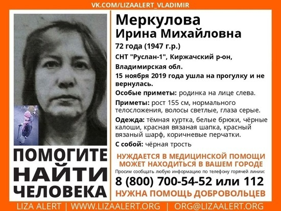 72-летнюю пенсионерку ищут в Киржачском районе