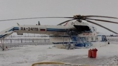 Жесткая посадка вертолета на Ямале: вид снаружи