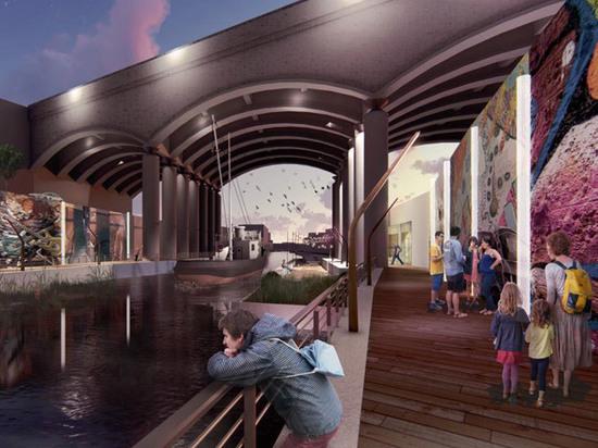 Обнародован необычный проект реконструкции набережной Яузы: кинотеатр построят под мостом