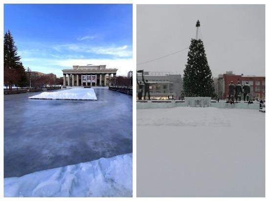 В Новосибирске тает лед: подтаявший каток перед оперным занесло снегом