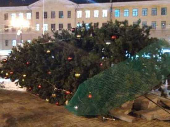 В Ивановской области ветром сдуло вторую елку, на этот раз – в областном центре