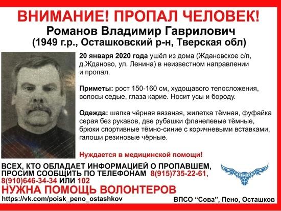 Пропавшего в Тверской области дедушку видели около деревни