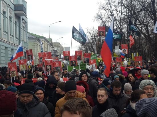 На Марш Немцова в Москве вместе со студентами вышли пенсионеры