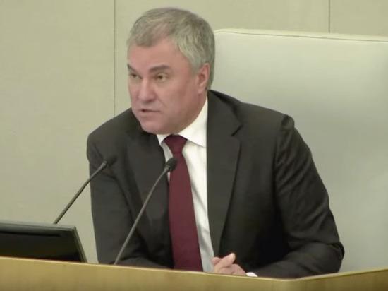 Володин прокомментировал решение отложить командировки депутатов за рубеж