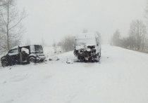 В Хакасии на дороге столкнулись маршрутка и иномарка, погиб человек