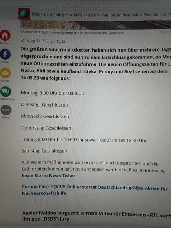 Коронавирус в Германии: «Супермаркеты закрываются с понедельника» — ложные новости, Fakenews