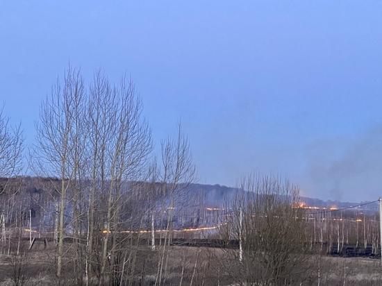 Пожар в Щекинском районе подбирается к Ясной Поляне