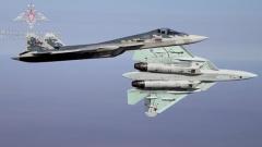 Российские летчики выполнили фигуры высшего пилотажа на Су-57