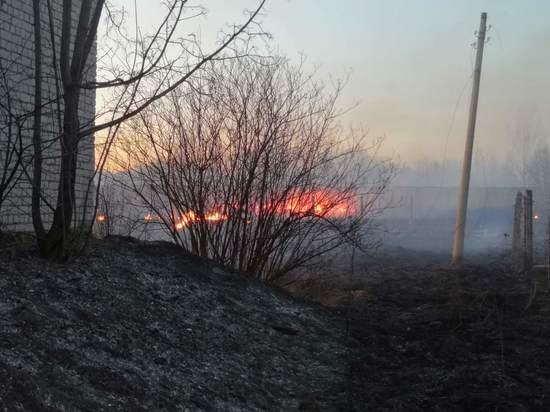 На заброшенной воинской части в Твери подожгли траву