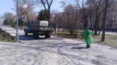 В сети появилось видео, как дезинфицируют улицы Астрахани
