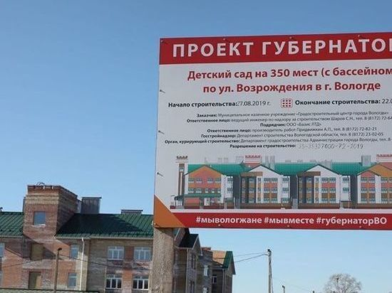 Строительство детских садов активно идет в Вологодской области