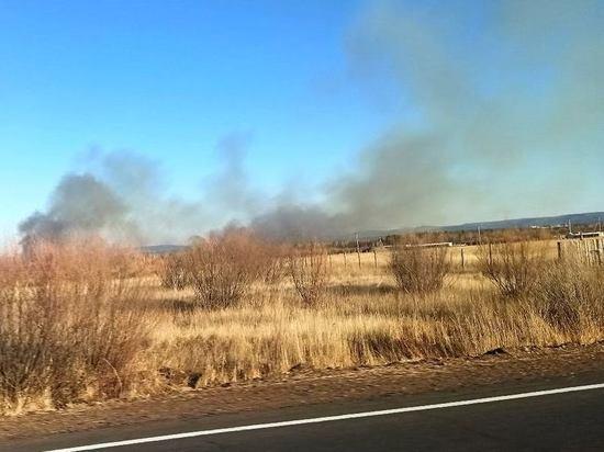 Поле горит между Смоленкой и Угданом в Читинском районе