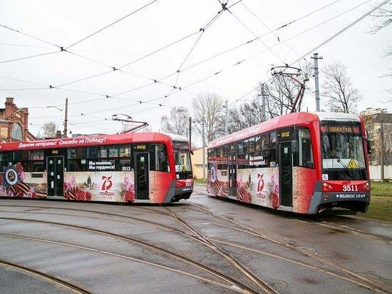 Трамваи и троллейбусы Петербурга украсили ко Дню Победы