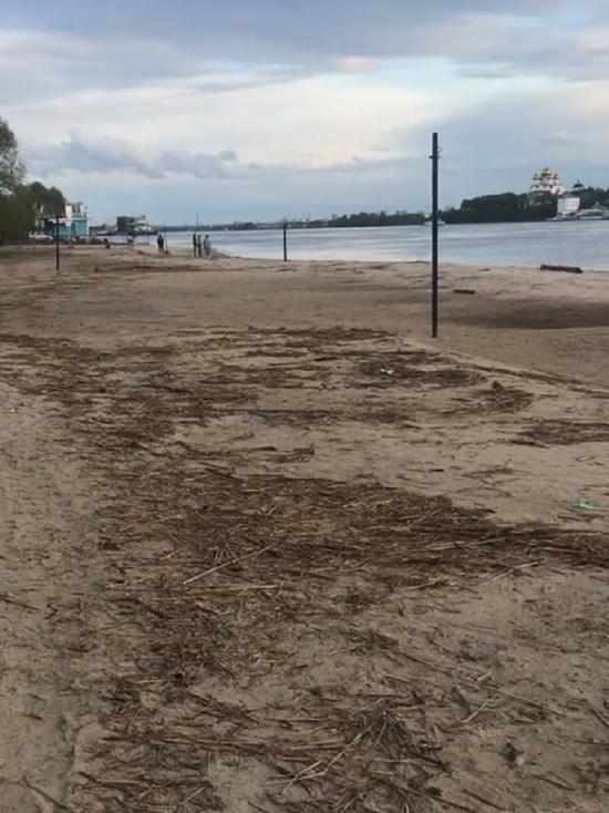 Тверицкий пляж в Ярославле похоронен под речным мусором