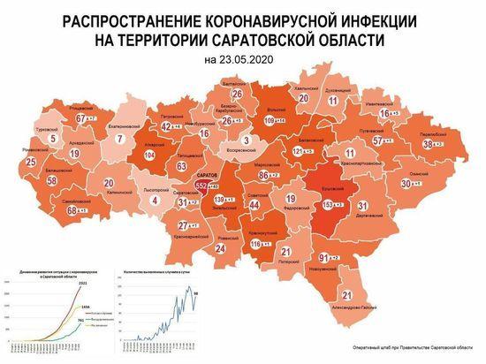 Обновленная карта распространения коронавируса: где больще всего заболевших в Саратовской области